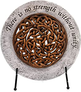 No Strength Without Unity Celtic Knot 6.5 x 6.5 Resin Garden Stone and Easel Set