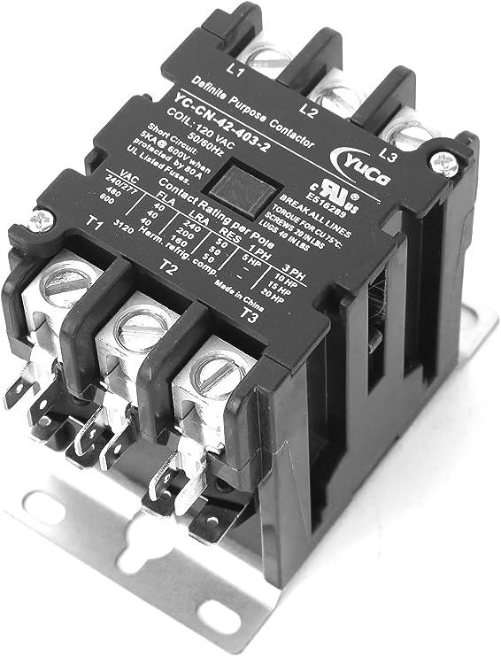 YuCo YC-CN-42-404-2 40A 4P DP Contactor 120V Coil fits Siemens Furnas 42CF25AF