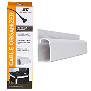 J Channel Desk Cable Organizer by SimpleCord – 5 White Raceway Channels - Cord Cover Management Kit for Desks, Offices, and Kitchens