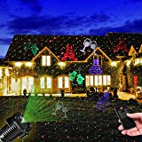Christmas Light Projector, YUNLIGHTS Waterproof Outdoor Laser Lights Holiday Projector with RF Wireless Remote, Red and Green Star Projector Including 10 Slides for Halloween Christmas Decorations