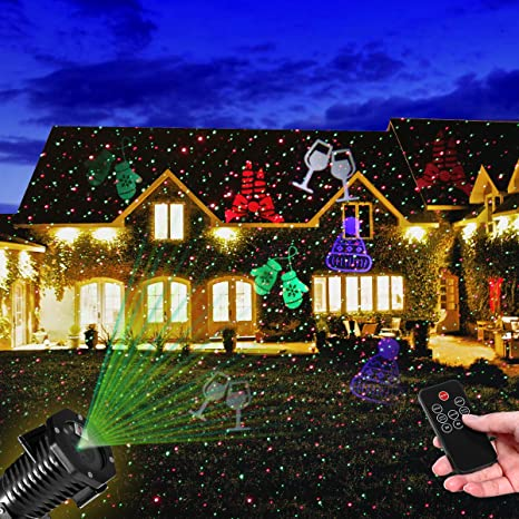 Amazon.com: Christmas Light Projector, YUNLIGHTS Waterproof Outdoor Laser  Lights Holiday Projector with RF Wireless Remote, Red and Green Star  Projector ... - Amazon.com: Christmas Light Projector, YUNLIGHTS Waterproof Outdoor