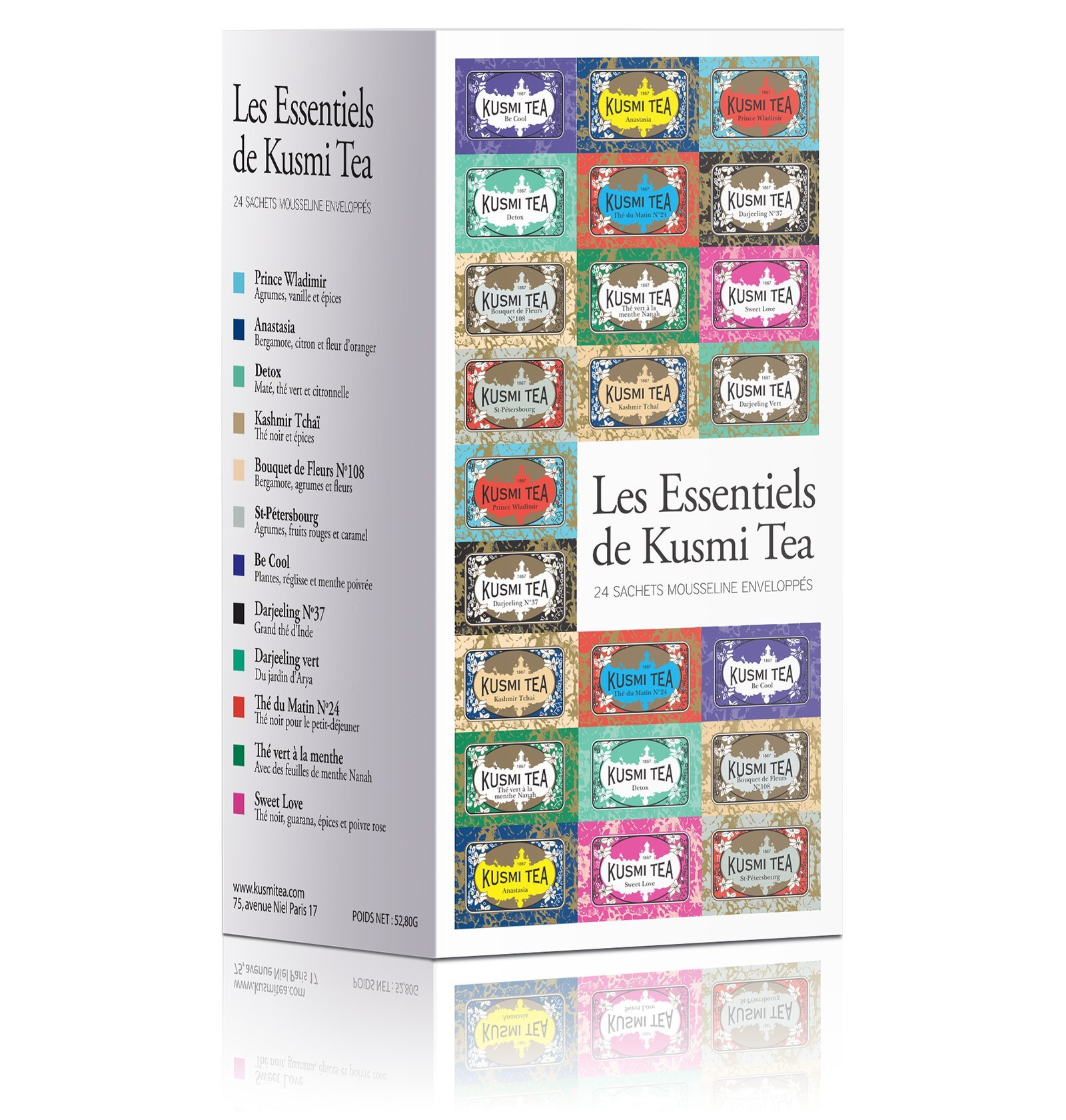 Kusmi Tea Essential Tea Assortment - Enjoy Our Best Tea Recipies From Earl Grey to Herbal Infusions Perfect Gift for Tea Lovers Feel Refreshed and Rejuvenated (12 Flavors 24 Muslin Tea Bags)