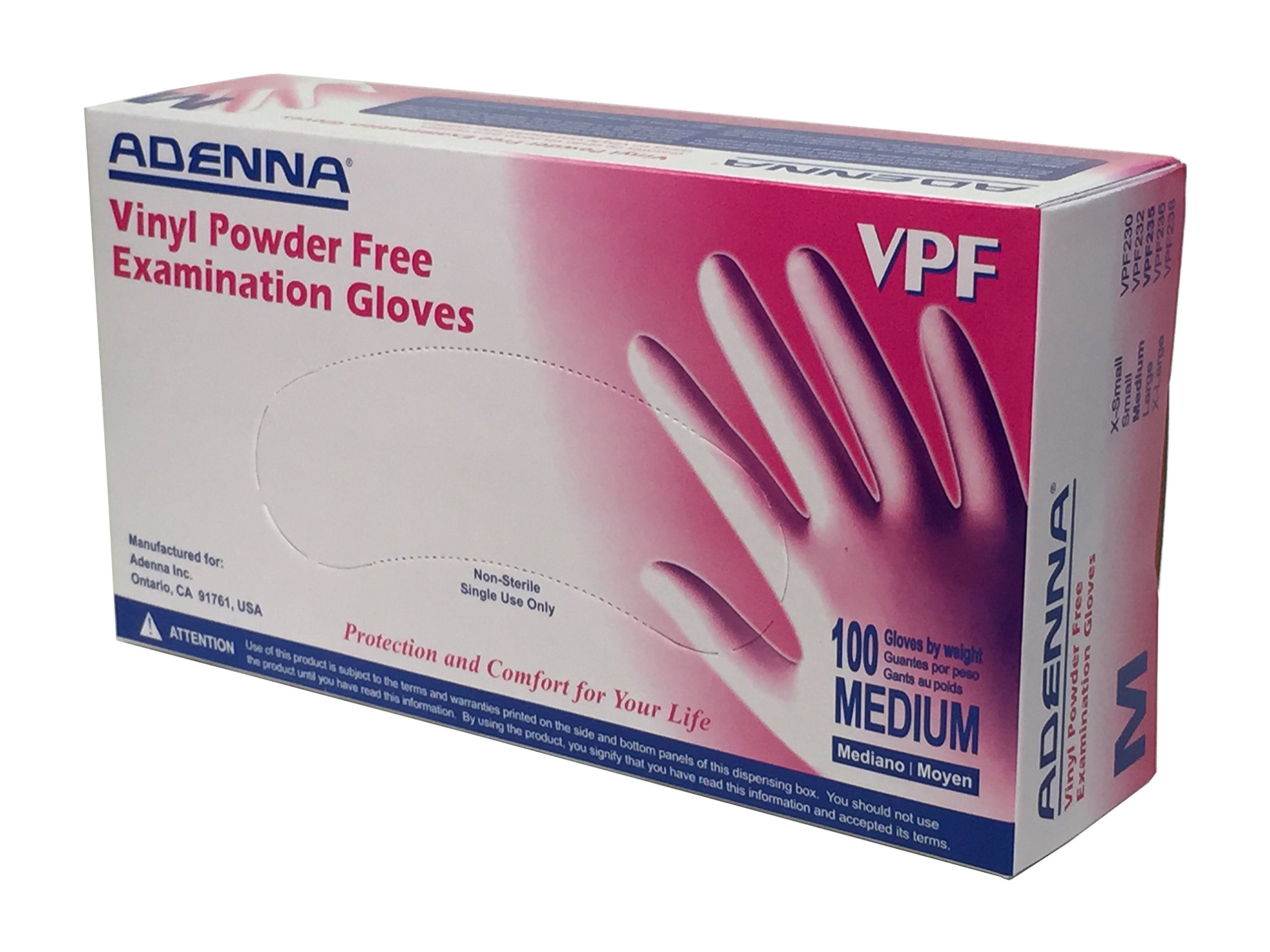 Adenna VPF 3.5 mil Vinyl Powder Free Exam Gloves (Translucent, Medium) Box of 100
