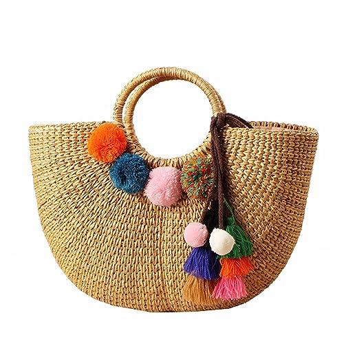 TOOGOO Womens Vintage tejido de paja bolsos ocasionales de ...