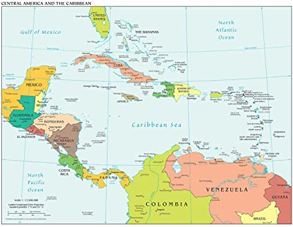 Amazon.com: Map Poster - Central America and the Caribbean 18.5\