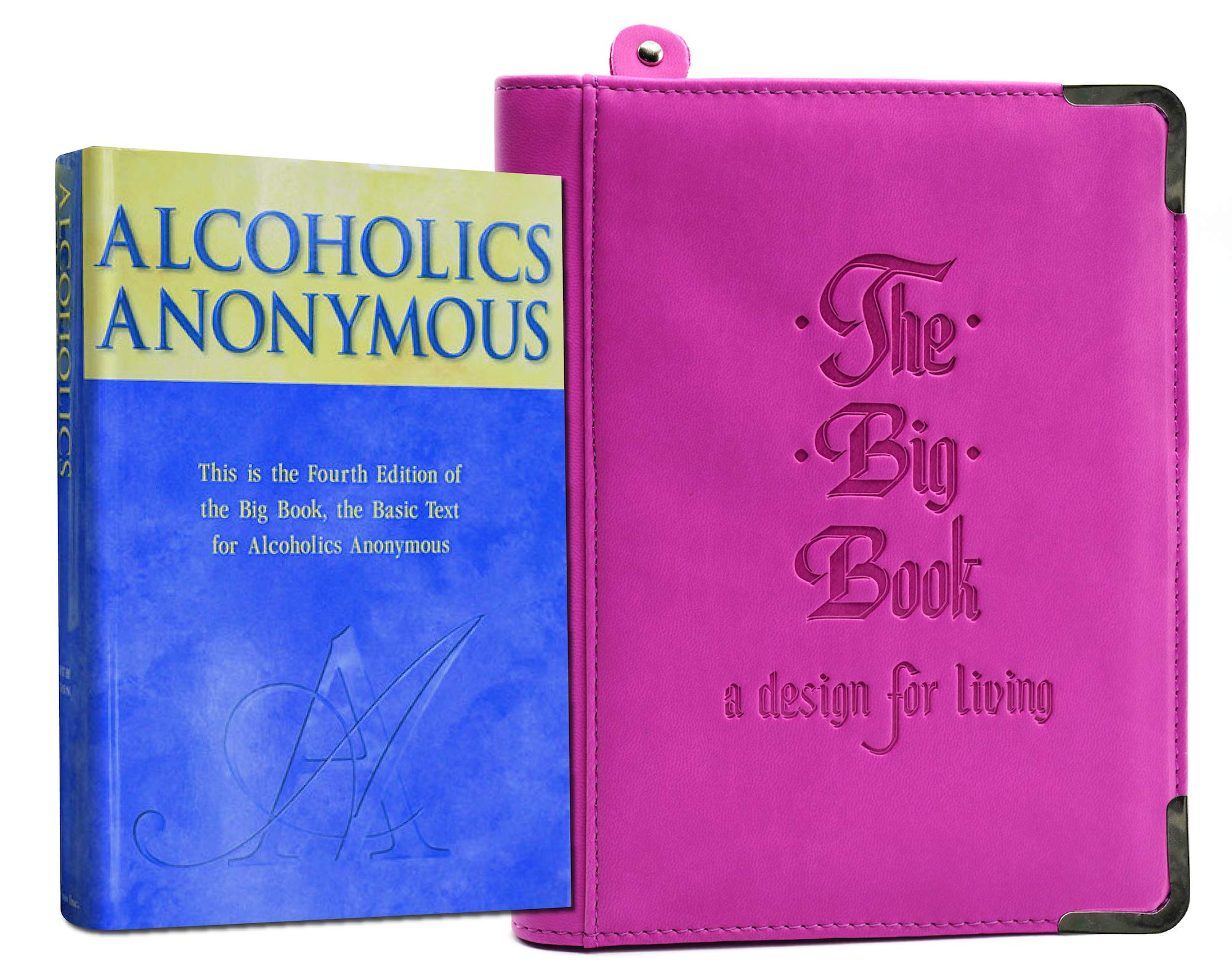 Pink AA Bookcover with Big Book of Alcoholics Anonymous Included You Get Both by MyRecoveryStore