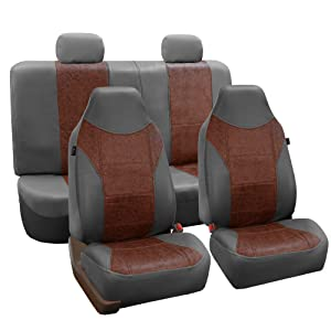 FH GROUP FH-PU160114 PU Classic Leather Seat Covers Brown / Gray, Airbag compatible and Split Bench-Fit Most Car, Truck, Suv, or Van