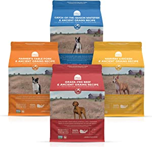 Open Farm Ancient Grain Dry Dog Food Bundle with Catch-of-The-Season Whitefish, Farmer's Table Pork, Grass-Fed Beef and Harvest Chicken, 4 Pack