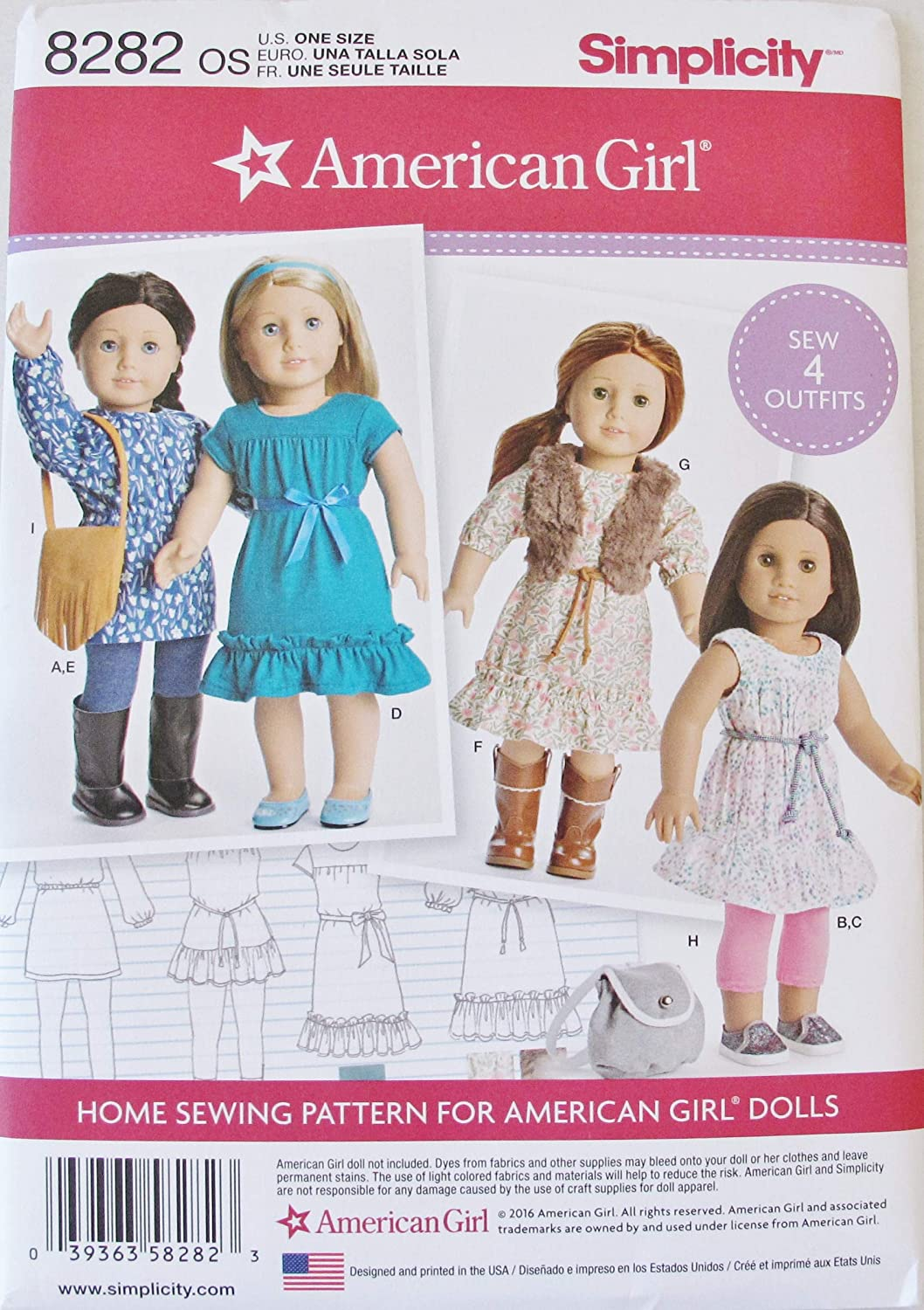 Amazon Com Simplicity 8282 18 Doll Clothes Sewing Pattern Arts