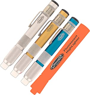 "product image for Chalk Holder Combo Pack - Commando Anodized Pro Series Handles (1each Clear, Gold & Blue Anodized) with One Piece White Standard 3/8"" School Chalk in Each Holder - Receive FREE Fluorescent HighLighter"