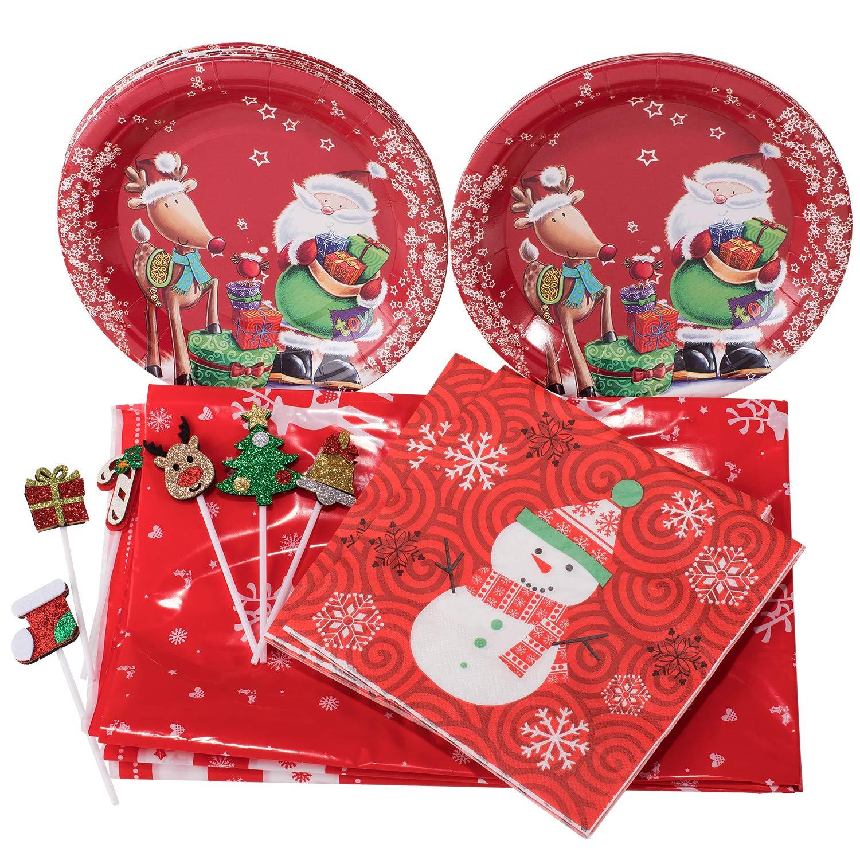 tovaglioli e decorazioni per cupcake Whaline include tovaglia piatti di carta Set di stoviglie usa e getta da 83 pezzi accessori completi per feste natalizie a tema natalizio