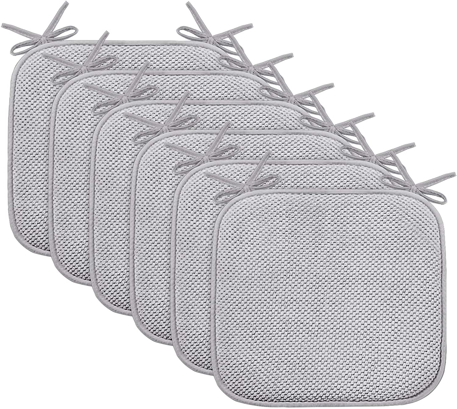 """Chair Cushion Pads with Ties Non Slip Honeycomb Memory Foam Seat Chair Cushion Pads Premium Comfort Memory Foam Chair Pads/Cushions Square 16"""" x 16"""" Seat Cover, 6 Pack, Gray"""