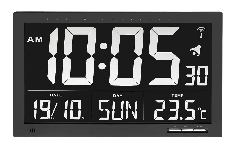 1bfa0c6ddfef TFA 60.4505 Reloj Digital Mural Negro con termómetro tamaño XXL  Amazon.es   Hogar