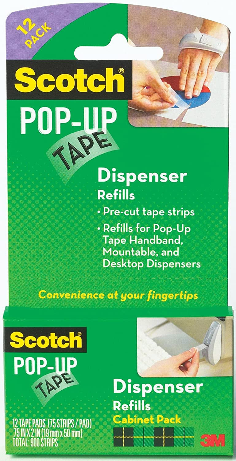 Scotch Pop-Up Tape Strips, 3/4 x 2 Inches, 12 Pads, 75 Strips/Pad (90M-12PK) 3M Office Products