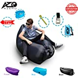 Inflatable Lounger Summer Gift Waterproof Premium Odorless Nylon Beach Sofa by Azero with Portable Carry Bag, 3 Pockets, Securing Stake & Bottle Opener, Easy Inflates in Seconds, Holds 250kg