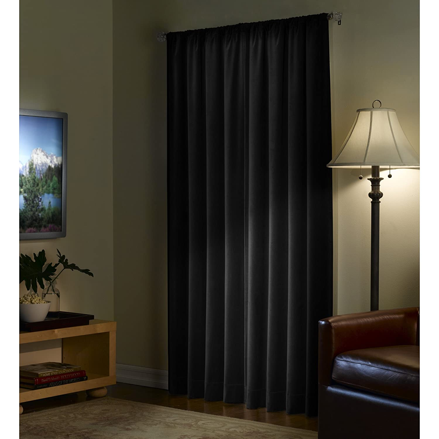 Amazon Maytex Velvet Blackout Panel Curtain Black 40 X 84 Home Kitchen