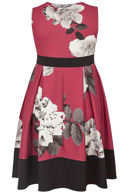 Women s Plus Size Berry Lily Print Skater Dress 355eafb4b