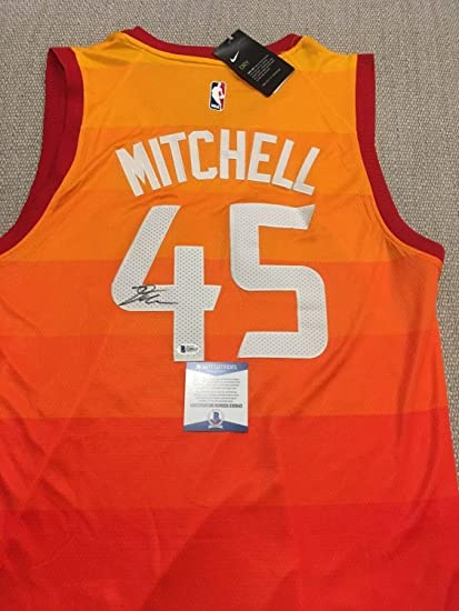 classic fit e799d 9a51b Donovan Mitchell Autographed Signed Utah Jazz Jersey Beckett ...