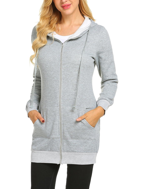 9388296bdcd9c Zeagoo Women Casual Zip up Fleece Hoodies Tunic Sweatshirt Long Hoodie  Jacket ZT002233 larger image