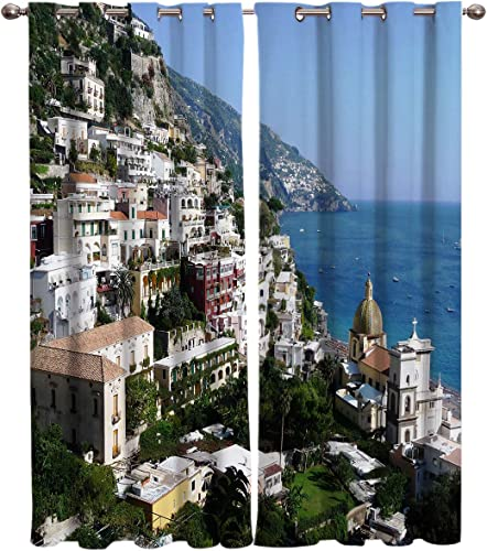 Window Blackout Curtains Drapes Grommet 1 Panel Positano Beauty Print Room Darkening Curtains 52″x96″