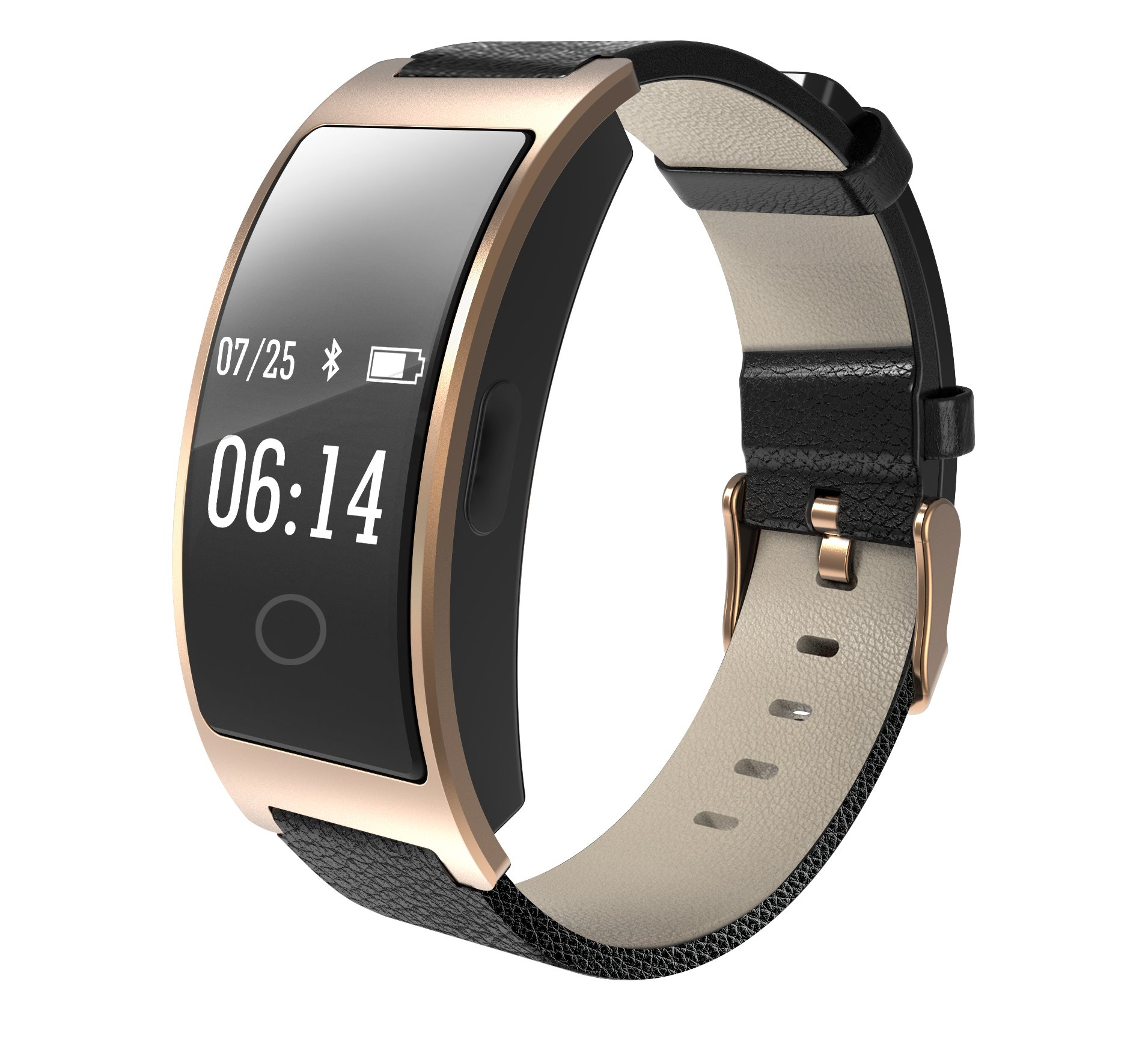 Hangang Smart Bracelet CK11s Smart Bluetooth Watch Band Sport Watch IP67 Waterproof Blood Pressure Heart Rate Monitor Step Reminder for iOS Android (02012-gold)