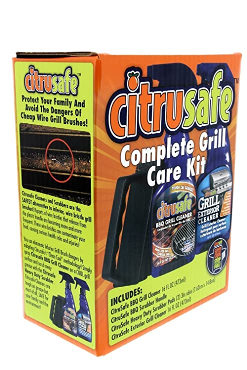 Amazon.com : Grill Cleaning Kit - BBQ Grid And Grill Grate Cleanser, Exterior Cleaner, and Scrubber By Citrusafe (16 oz each) : Garden & Outdoor