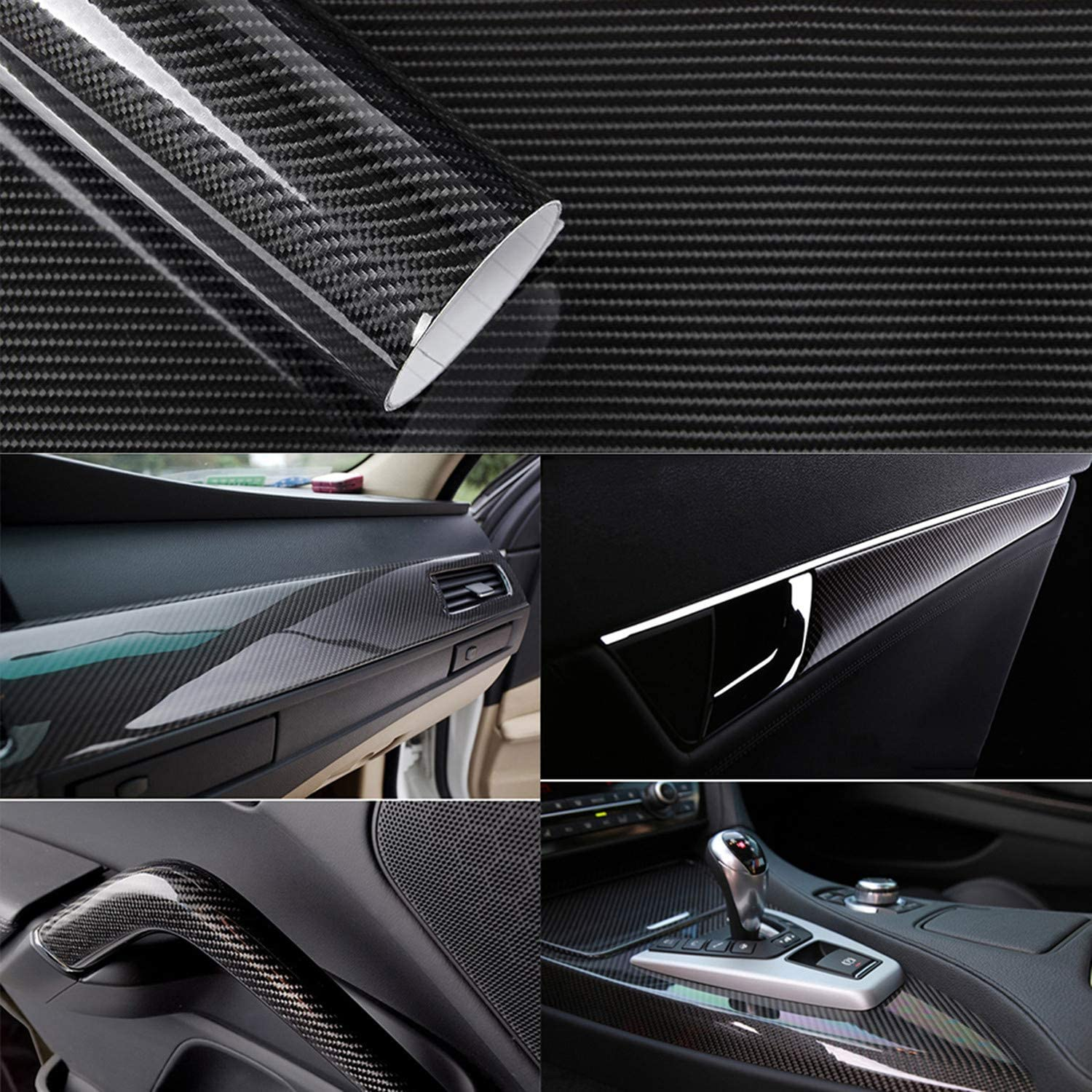 3D Carbon-Folie Black Car Wrapping Car-Wrapping with Air Channels Bubble-Free