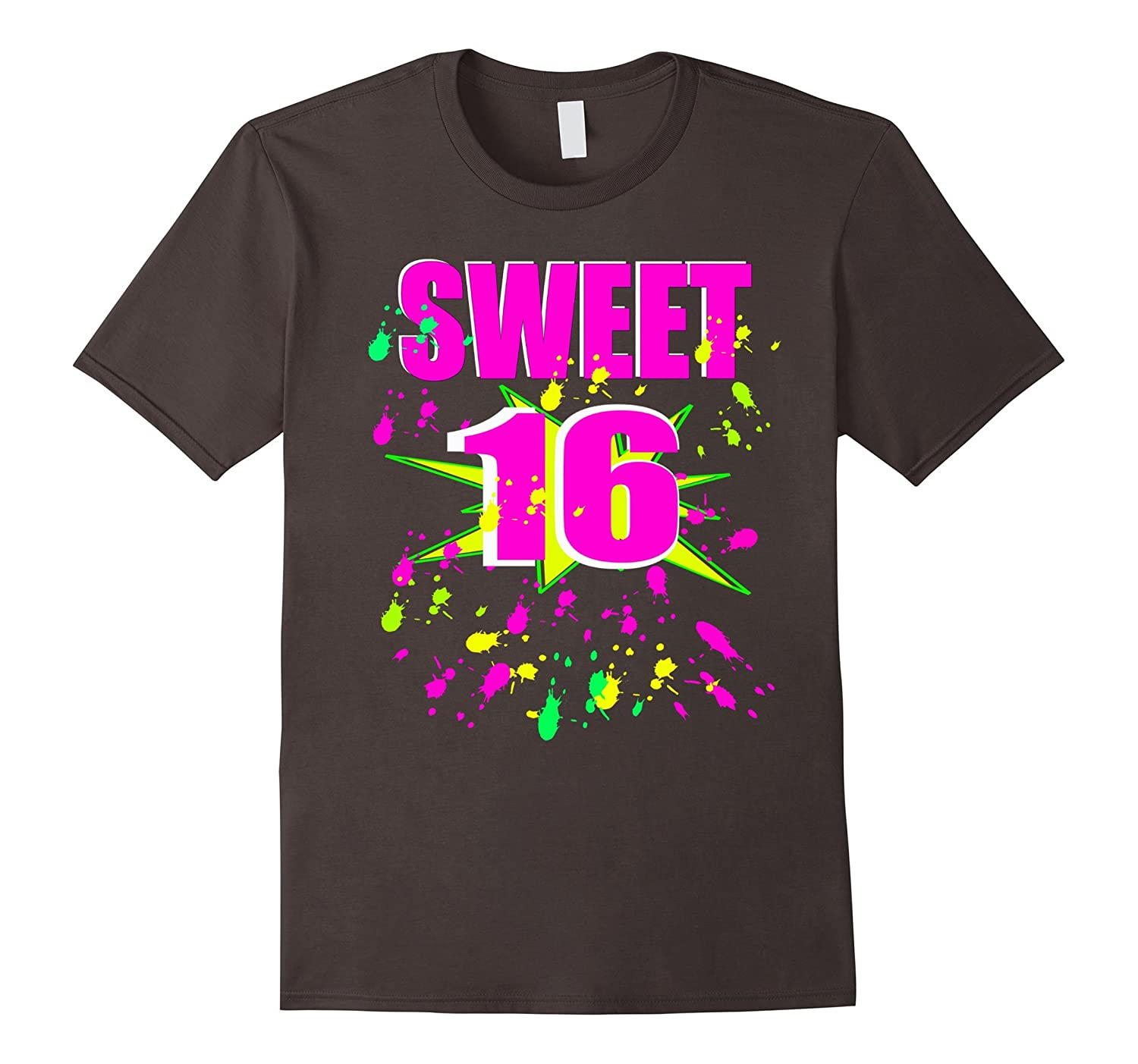 Sweet Sixteen 16 Birthday Shirt Neon Party Rave Glow RT
