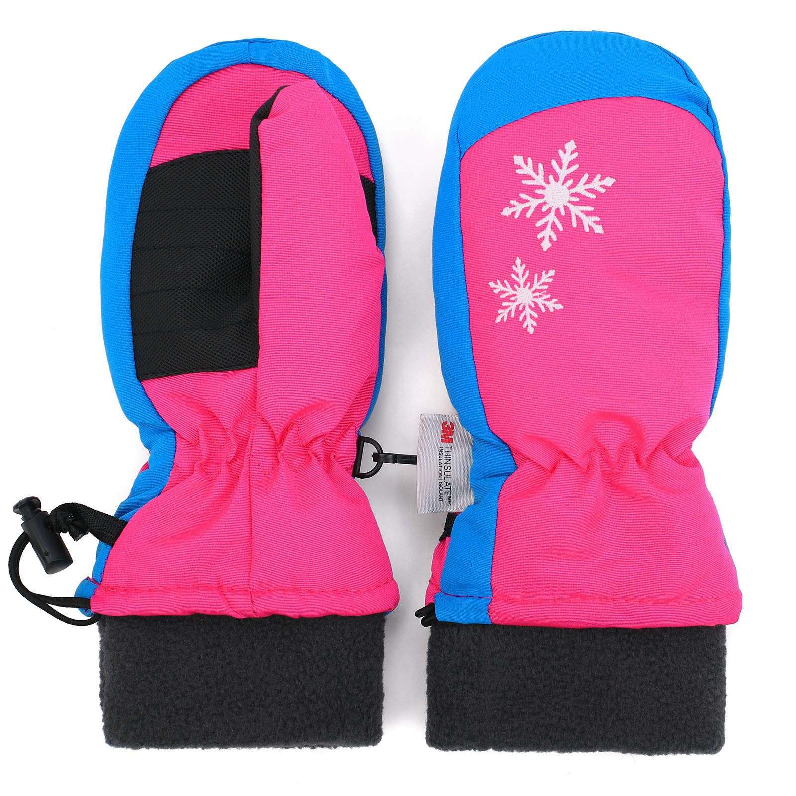 Flammi Kids Ski Mittens Waterproof Thinsulate Lined Mittens Snowflakes Embroidery (Magenta, M / 5-8yrs)