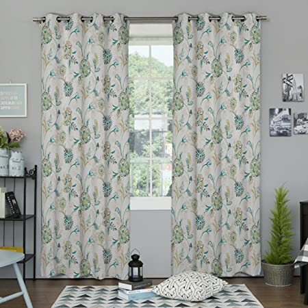 IYUEGO Country Graceful Artistic Floral Grommet Top Lined Blackout Curtains Draperies With Multi Size Custom50 W x 84 L One Panel