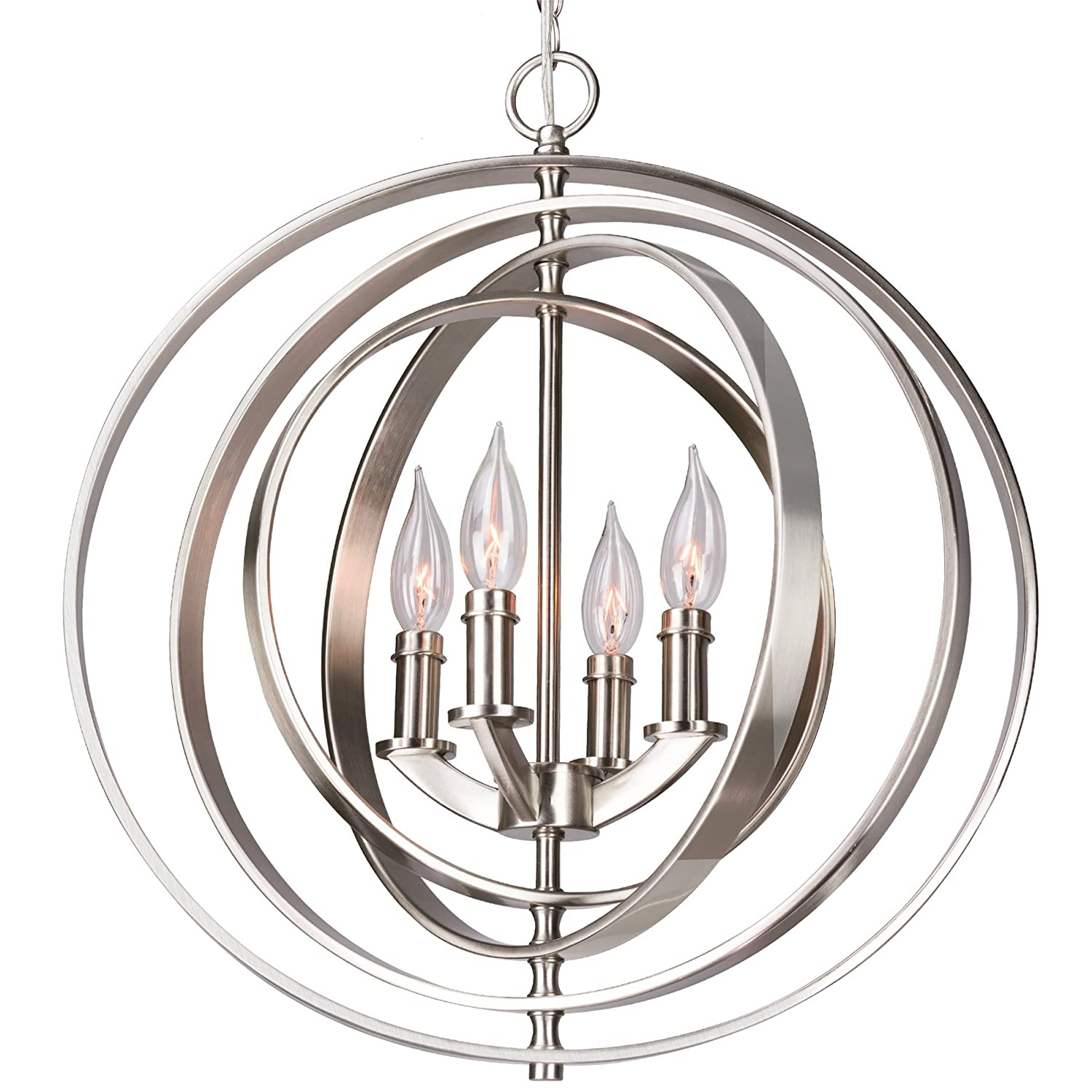 "Kira Home Orbits 18"" 4-Light Modern Sphere/Orb Chandelier, Brushed Nickel Finish"