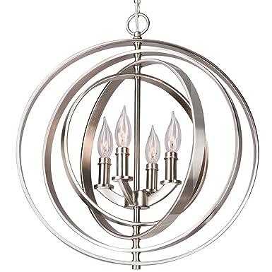 Kira Home Orbits 18 4-Light Modern Sphere Orb Chandelier, Brushed Nickel Finish