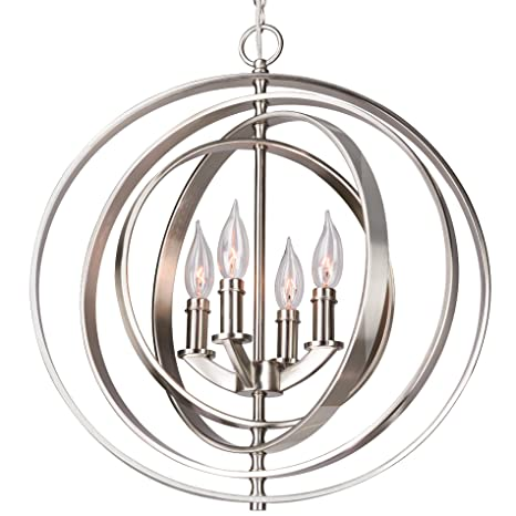 Kira Home Orbits 18quot 4 Light Modern Sphere Orb Chandelier Brushed Nickel