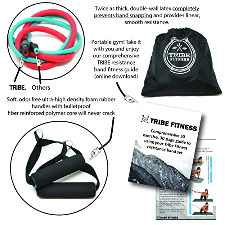 Buy Tribe 11pc Resistance Band Set - with Door Anchor, Handles