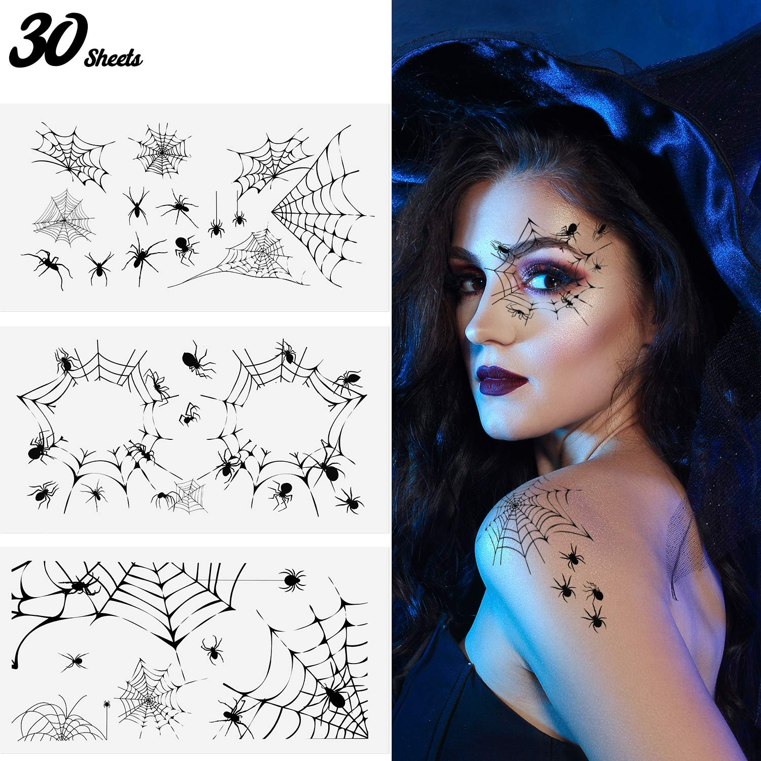 30 Sheets Halloween Spider and Spider Web Temporary Tattoos Stickers for Halloween Witch Costume Party on Face Cheek Arm Hand Ankle (Style 5)