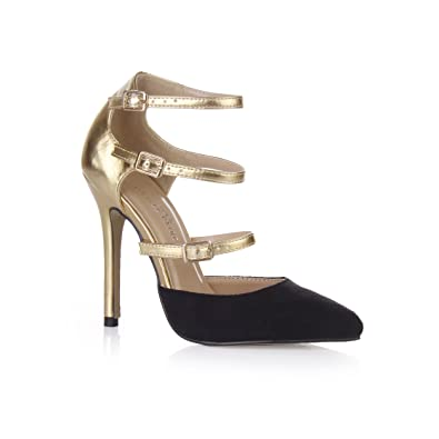 cbb238dfd071 Women s Strappy Stiletto Gladiator Pumps Lux Dress High Heel Shoes Pointed  Toe Velvet Black Pleather Gold