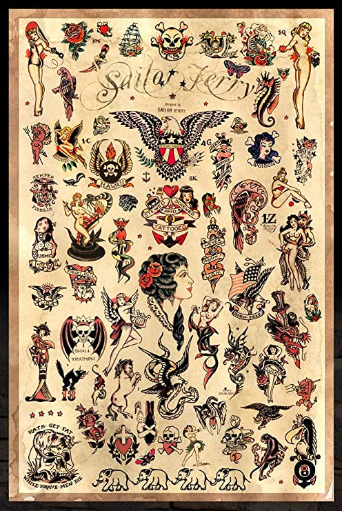 Amazon.com: Sailor Jerry Tattoo Flash (estilo c) Cartel 24 x ...