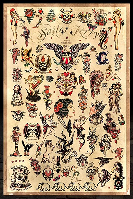 77699df908106 Amazon.com: Sailor Jerry Tattoo Flash (Style C) Poster 24x36