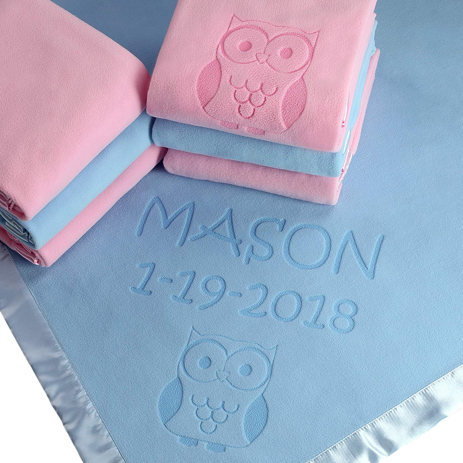 Owl Gifts, Baby Blanket - Boy or Girls Nursery Décor, Toddler Crib Bedding Plush (2 Lines of Text) Custom Catch CC-BBL-SE-OWL-2LINE