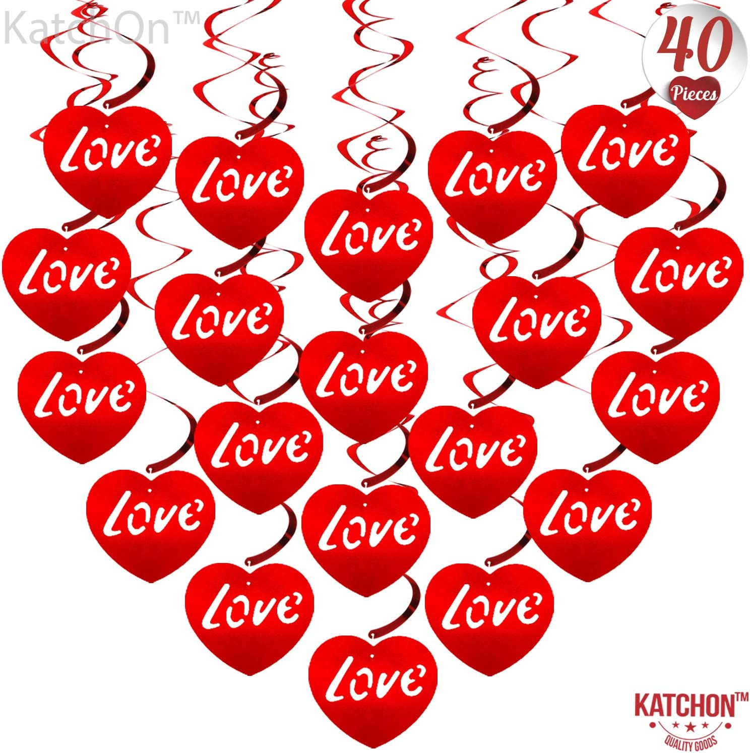 Valentines Day Hanging Decorations - Pack of 40 | Valentines Day Decorations | Valentines Party Love Hanging Swirls Decorations | Valentines Day Decorations Ceiling for Room | Valentines Party Decor
