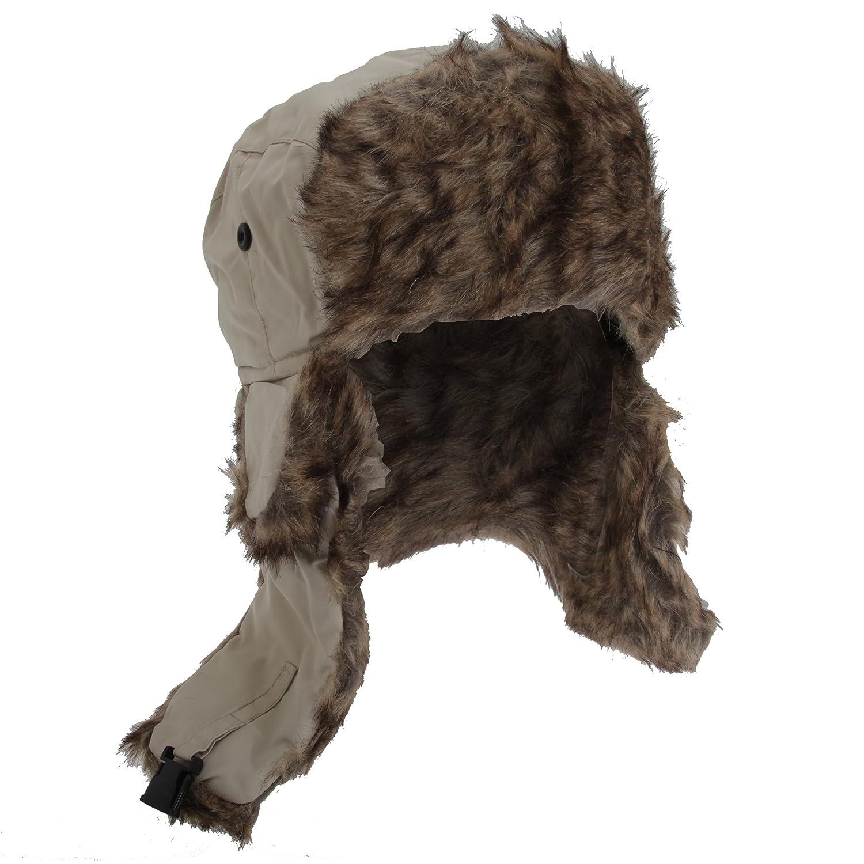 FLOSO® Herren Thermo Wintermütze / Ski-Mütze mit Kunstfellbesatz, wasserabweisend