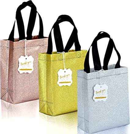 Amazon Com Set Of 12 Small Gift Bags Non Woven Reusable Bags With Glitter Texture For Weddings Birthdays Party 6 5x3x8 5 Size Bags Bundle With 12xthank You Hangtags Twine 12 Cardboard Inserts Mix Color
