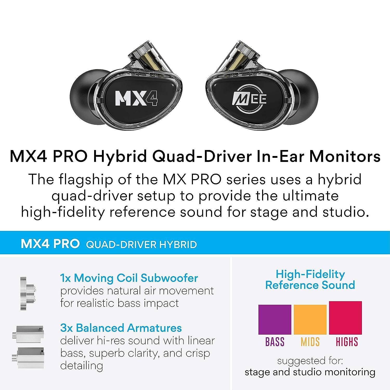 Mee Professional MX4 Pro Moniteurs Intra-Auriculaires Personnalisables pour Musiciens avec Isolation Acoustique