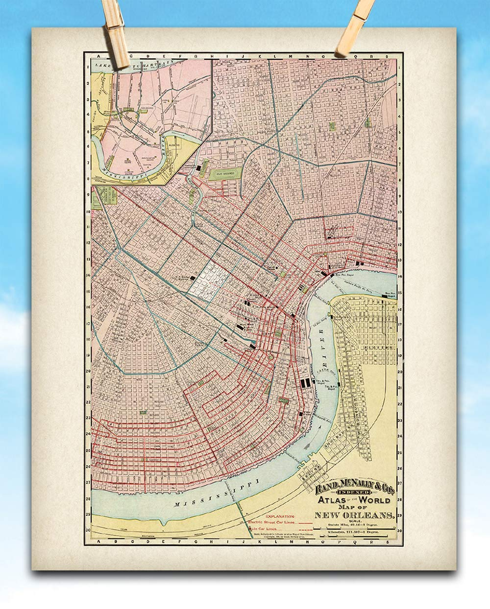 picture regarding Printable Maps of New Orleans called : Fresh Orleans Map - 11x14 Unframed Artwork Print