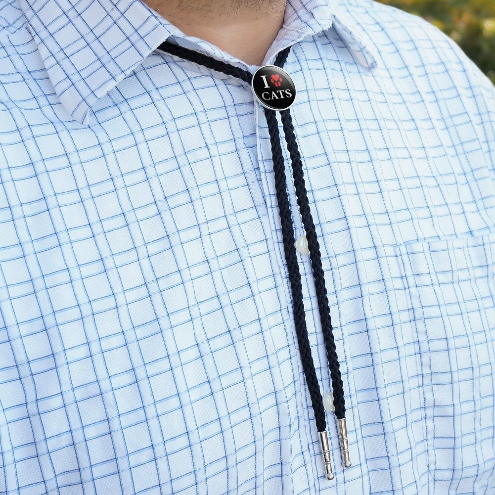 I Love Cats Heart with Paw Print Western Southwest Cowboy Necktie Bow Bolo Tie