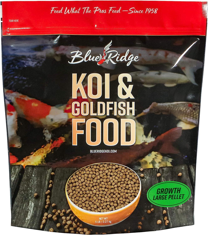Blue Ridge Fish Food Pellets, Koi and Goldfish Growth Formula, Floating 3/16