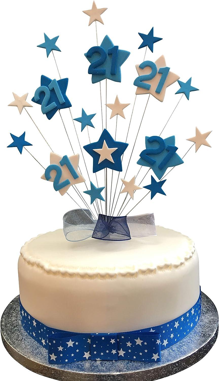 Marvelous 21St Birthday Cake Topper Blues And White Stars Plus 1 X Metre Funny Birthday Cards Online Chimdamsfinfo
