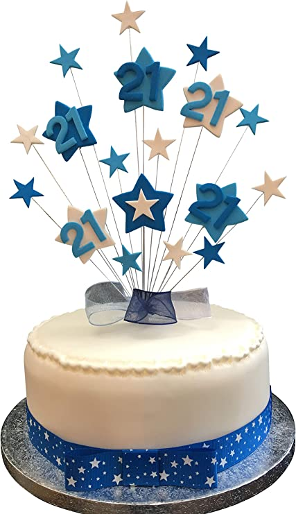 Cool 21St Birthday Cake Topper Blues And White Stars Plus 1 X Metre Personalised Birthday Cards Beptaeletsinfo