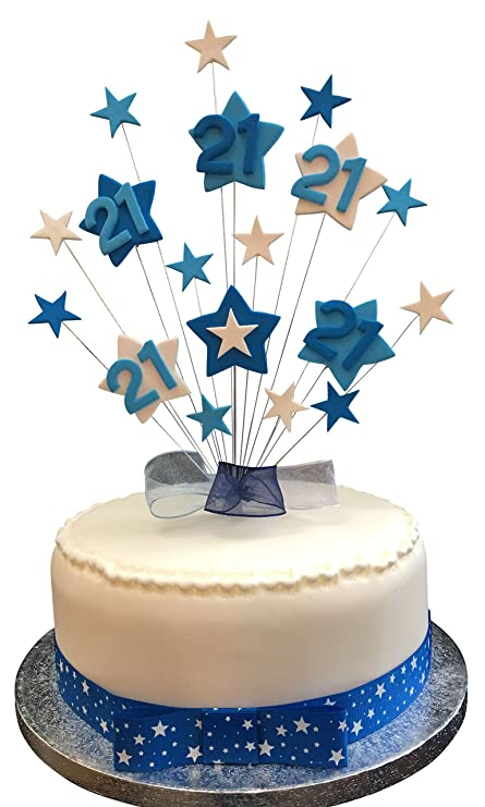 21st Birthday Cake Topper Blues And White Stars Plus 1 X Metre 25mm Blue With