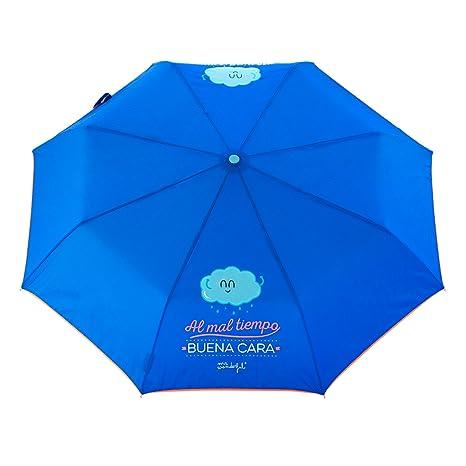 Mr. Wonderful Paraguas Mediano, DiseñoAl Mal Tiempo Buena Cara, Color Azul